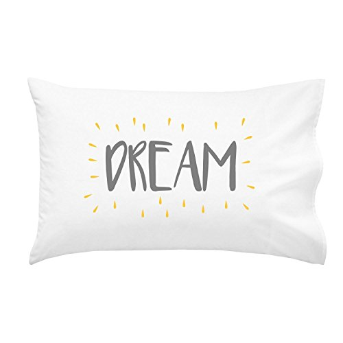 Oh, Susannah Dream Kids Pillowcase GREY YELLOW - Fun Toddler Pillow Case (1 20x30 Inch Pillowcase)