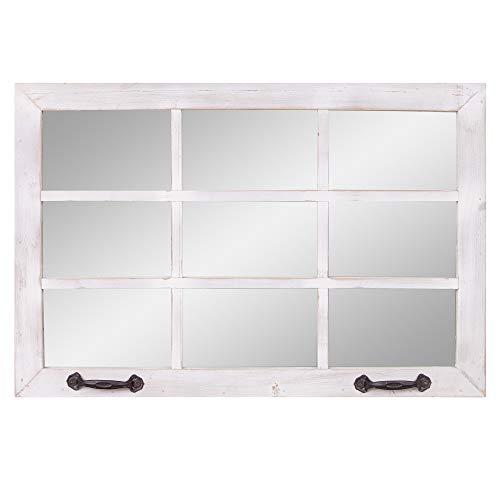 24x36 Distressed White Windowpane Wall Accent Mirror (Pane Distressed Window)
