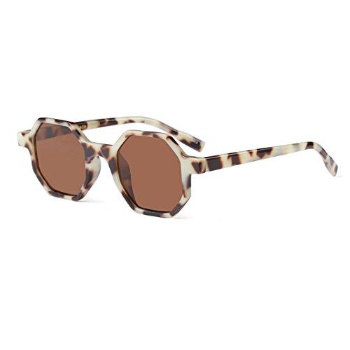 Leopardo design Patrón style Completo Polygonal Fashion Té Womens Mod Sunglasses Irregular Glasses Huicai Frame de Uq7Fwzxwf