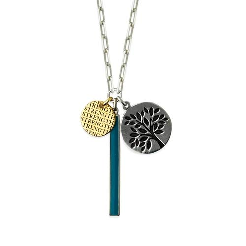 Sterling Silver Yellow and Simulated Turquoise Enml Bar Strength Tree Of Life Necklace - 20 Inch