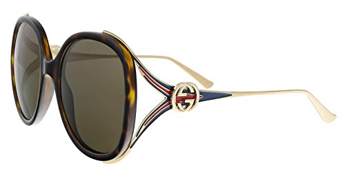 GUCCI GG0226S 002 Havana/Gold Oversized Round - Gold Logo Gucci