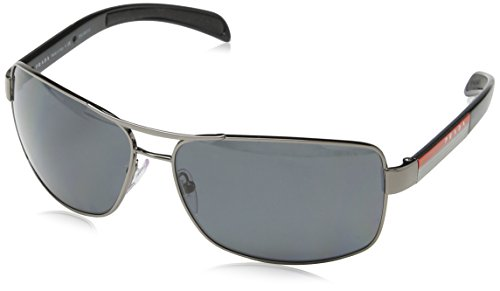 Prada Sport PS54IS Sunglasses-5AV/5Z1 Gunmetal (Polarized Gray - Rectangular Prada Sunglasses