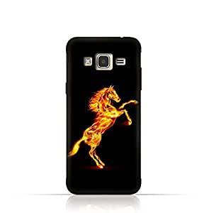 Samsung J2 Pro TPU Silicone Case With Horse on Flame Design