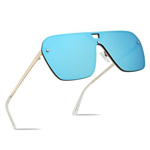 (FaceWear Rimless Mirrored Sunglasses Oversized One Piece Frameless Eyeglasses Men Women FW1019 C5)
