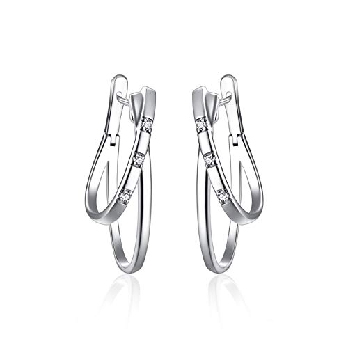 Oval Earrings Sterling Silver Double Layered Drop Earrings Oval Shape Hoop Earring with Cubic Zirconia, Stylish Jewelry for Women (Stylish earrings A) ()