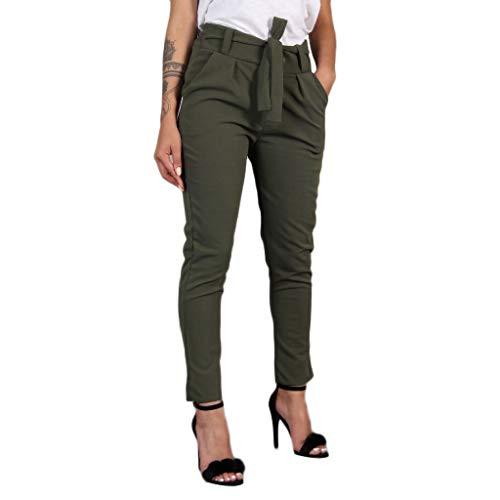 Women High Waist Pants nikunLONG Harem Bandage Stripe Casual Pants Slim Running Joggers Plus Size Pants Army Green