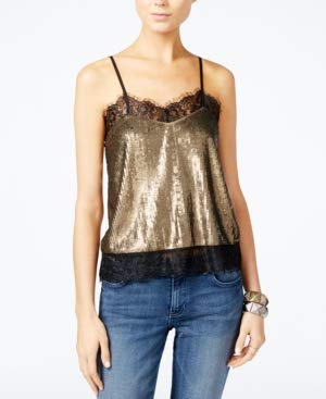 - GUESS Womens Sequined Lace Trim Camisole Top Gold M