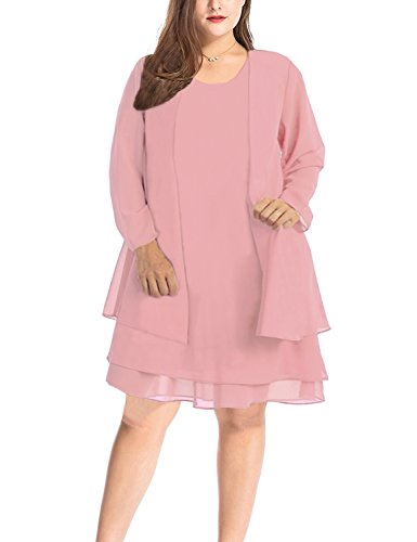 MERRYA Women\'s Plus Size Business Chiffon Jacket Mother of The Bride Dress  Suit (Light Pink, 5X Plus)