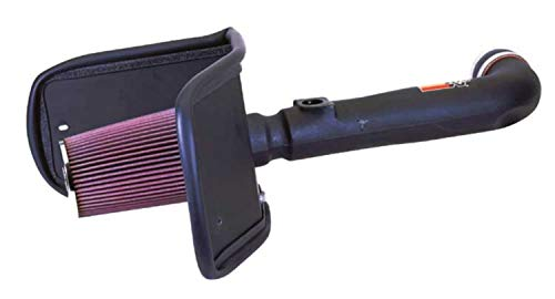 K&N Cold Air Intake Kit with Washable Air Filter:  1999-2005 Toyota Land Cruiser, 4.7L V8, Black HDPE Tube with Red Oiled Filter, 57-9021