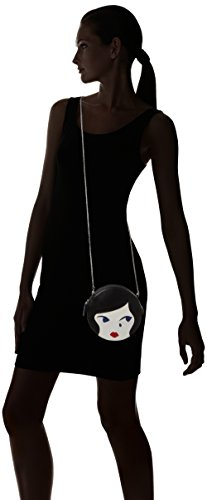 Lulu Guinness Doll Face - Borse a tracolla Donna, Black (Blk/chalk), 4x166x17 cm (W x H L)