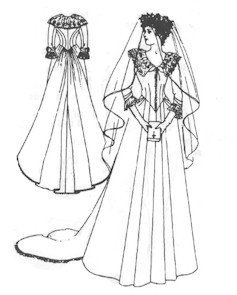 1882-1888 Bustle Wedding Gown with Cathedral Train Pattern