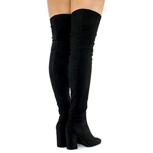 The Women Slip High Standard Premier Premier Suede Boots Su Block Vegan Comfy Thigh Fashion Over On Black Knee Heel BRqxqO8
