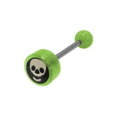 BodyJewelryOnline Skull Head Logo Barbell Tongue Ring - Green Beads