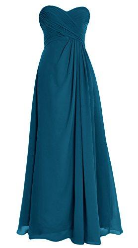 MACloth Women Strapless Long Chiffon Bridesmaid Dress Wedding Evening Party Gown Teal 0XG5qR