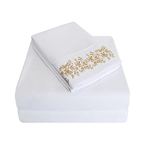 Super Soft Light Weight, 100% Brushed Microfiber, Wrinkle Resistant, Full 4-Piece Sheet Set, White with Gold Floral Lace Embroidery Pillowcases in Gift - Embroidery Box Set