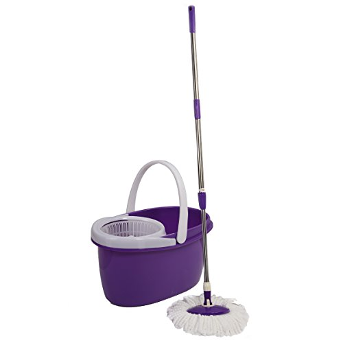 Easy Magic Floor Mop 360° Bucket 2 Heads Microfiber Spin Spinning Rotating Head (Purple) by Sustainables (Image #7)