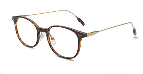Kelens Fashion Keyhole Metal Temple Oval Horn Rimmed Clear Lens Glasses (Keyhole Fashion)