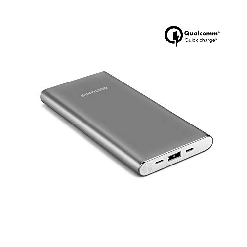 High Capacity 10000mAh Quick Charge QC 3.0 Portable Charger Fast Speed Charging Dual Input Thin Power Bank Compatible For iPhone iPad Samsung Galaxy Mobile phone & Android Smartphone Device Space Grey (Best Fast Battery Charger For Android)