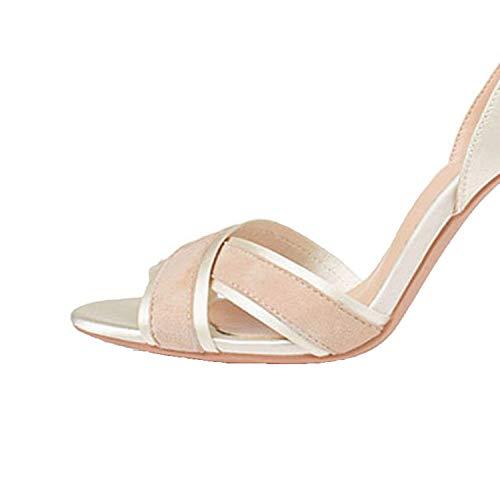 Sunmiles Best Rated for Winter Gift Ankle Strap Wedding Designer Shoes Women Luxury Large Size Slingback Pumps High Heels Sandals,36MEU,Beige10cm -