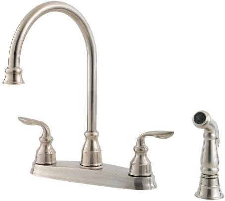 Pfister GT36-4CBS Avalon 2-Handle High Arc Kitchen Faucet with Side Spray, Stainless Steel