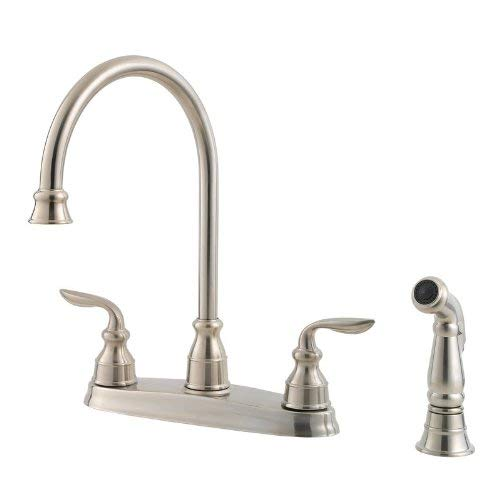 Pfister GT36-4CBS Avalon 2-Handle High Arc Kitchen Faucet with Side Spray, Stainless Steel (Faucet Avalon Kitchen)
