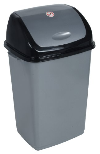 13-Gal. Trash Bin Color: Grey and Black (Trash Can Kitchen 13 Gallon compare prices)