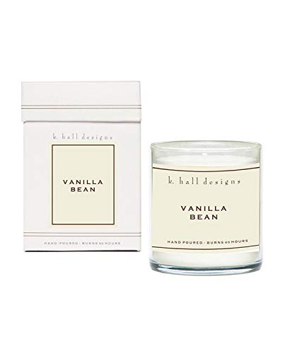 K. Hall Designs Vanilla Bean #45 Boxed Glass Jar Candle, 8 Ounces (1)