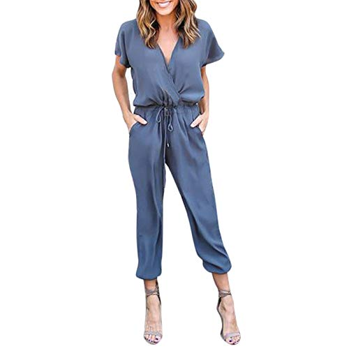 Thenxin Formal Work Chiffon Jumpsuit for Women Wrap V-Neck Elastic Waist Strappy Bean Foot Rompers(Blue,L)