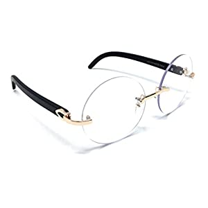 Diplomat Rimless Round Metal & Wood Eyeglasses / Clear Lens Sunglasses - Frames (Rose Gold & Black Wood Frame, Clear)