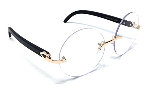 Diplomat Rimless Round Metal & Wood Eyeglasses / Clear Lens Sunglasses - Frames (Rose Gold & Black Wood Frame, - Eyeglasses Round Gold