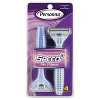 Personna Speed 3 Triple Blade Pivoting Head Disposable Razor for Women - 4 Ea