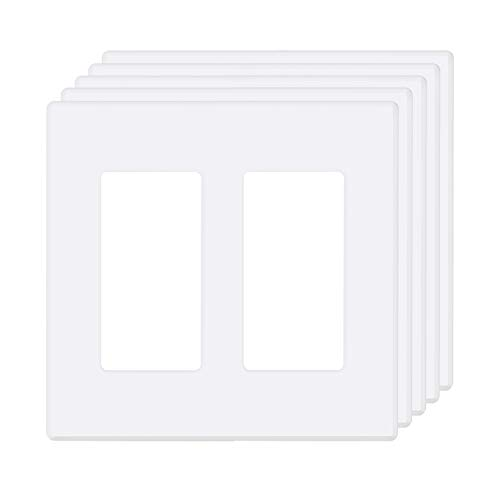 Plates 2 Wall ([5 Pack] BESTTEN 2-Gang Screwless Wall Plate, USWP2S Elegance Snow White Series, Standard Outlet Cover for Light Switch, Dimmer, Sensor, Timer, and Receptacle, Residential and Commercial, UL Listed)