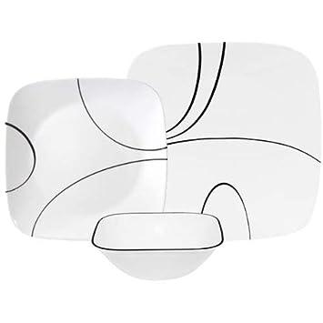 Corelle Square Simple Lines 18-Piece Dinnerware Set, Service for 6