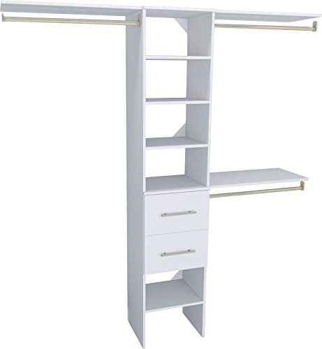 Reach Closets In (ClosetMaid 1937440 SuiteSymphony Modern 16-Inch Closet Organizer with Shelves and 2-Drawers, Pure White)