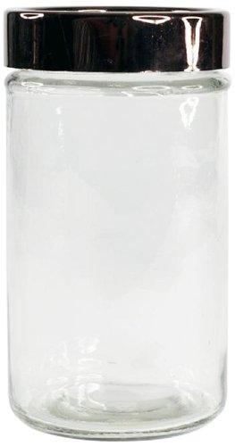 Housewares International Glass Storage Jar with Metallic ...
