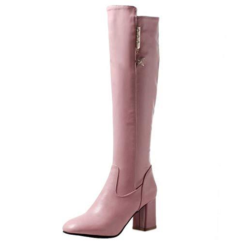 Hautes Avec Taoffen Pink Fermeture Simple warm Haut Bottes Longue Éclair Talon Solid Femmes Chaussures 5ppfqBR