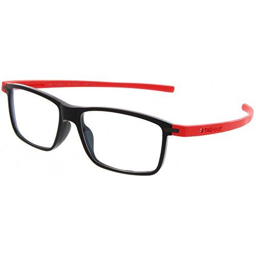 TAG Heuer 3955 Reflex 3 Rectangle Rx Prescription Ready Unisex Eyeglasses Frames (Red / Black, - Eyeglasses Tag Heuer