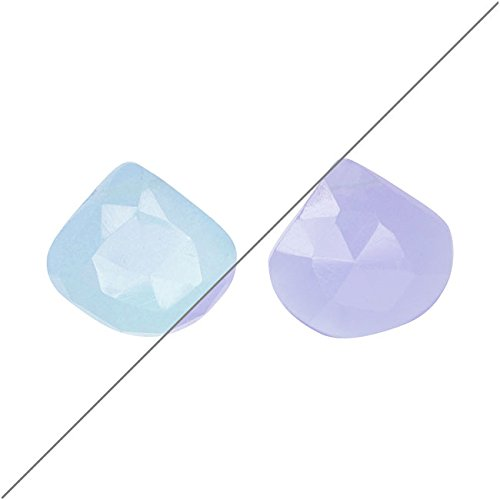Purple Chalcedony Gemstone Beads, Faceted Heart Briolette 10mm, 4 Pieces, - Briolette Beads Heart Faceted