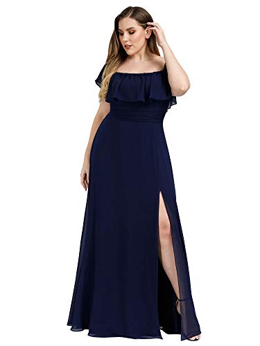 Women's Off The Shoulder Evening Dresses Beach Wedding Dress Plus Size Navy US20