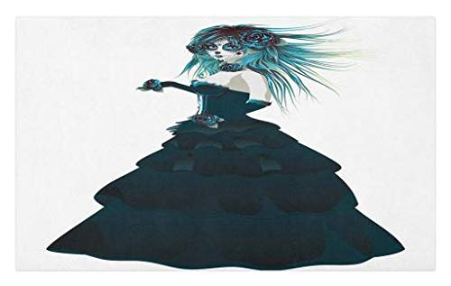 Lunarable Girls Doormat, Sugar Skull Girl with Prom Dress Roses in Hand Gothic Halloween Lady Zombie Vampire, Decorative Polyester Floor Mat with Non-Skid Backing, 30 W X 18 L Inches, -