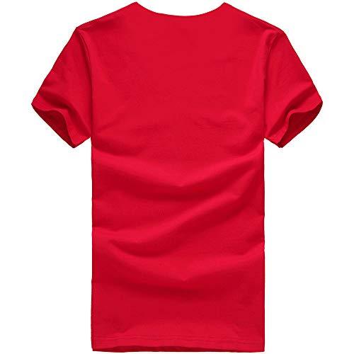 Tops Chemise Impression Été shirt De Courtes Couple Femme Manadlian Homme Sport Blouses T Vêtements Rouge À Casual Manches Z6CCqY