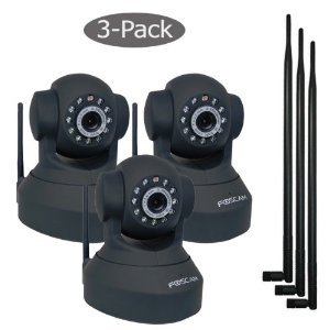 Foscam Pan And Tilt Wireless IP Camera with 9bdi antennas Black 3 pack - FI8918W