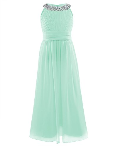 Yeahdor Girls' Halter Sequined Neck Ruched Bust Flower Girl Dress Wedding Party Bridesmaid Long Gown Pageant Chiffon Dresses Mint Green 14