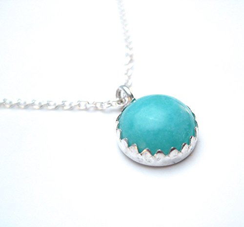 Amazonite Necklace Light Blue Gemstone and Sterling Silver Pendant 10mm