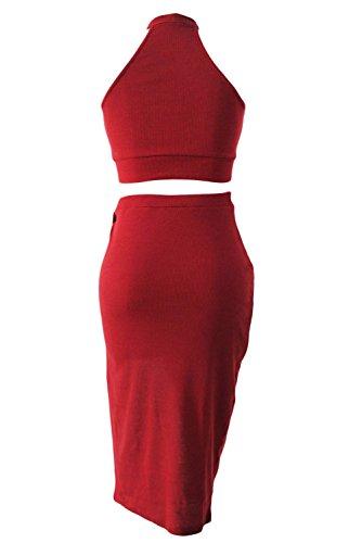 NEW Mesdames Bordeaux boutonnée haut Midi Jupe de Party Club Wear Taille M UK 10–12–EU 38–40
