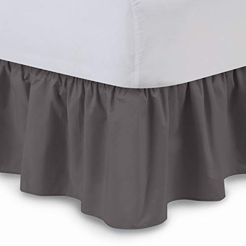 Fabricalicious Linen Ruffled Bed Skirt (Cal King, Dove Grey) 21 Inch Drop Bedskirt with Platform, Wrinkle and Fade Resistant - by (Available in All Bed Sizes and 16 Colors)