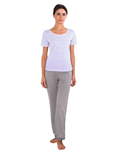 Cotton for Body | Bestseller | Women's Cotton Comfort T-shirt Pajama Set | Long Pants PJ (3XL, Multicoloured)