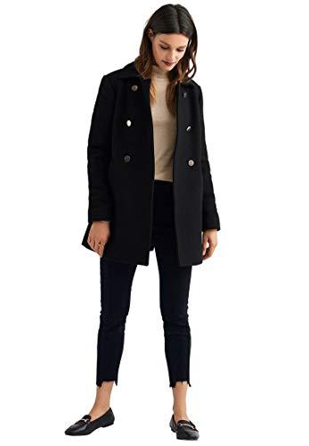 (Ellos Women's Plus Size Gold Button A-Line Wool-Blend Coat - Black, 24)