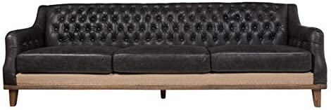 Design Tree Home Arlington Leather Sofa – Distressed Black Leather