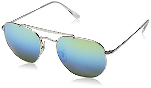 Ray-Ban RB3648 The Marshal Square Sunglasses, Silver/Blue Gradient Green Mirror, 54 ()